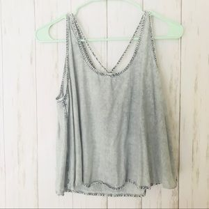 Chambray 💙 strappy tank - faded style light blue